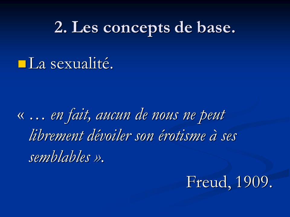 2. Les concepts de base. La sexualité. La sexualité. « … en fait, aucun de nous ne peut librement dévoiler son érotisme à ses semblables ». Freud, 190