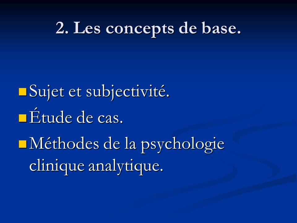 2. Les concepts de base. Sujet et subjectivité. Sujet et subjectivité. Étude de cas. Étude de cas. Méthodes de la psychologie clinique analytique. Mét