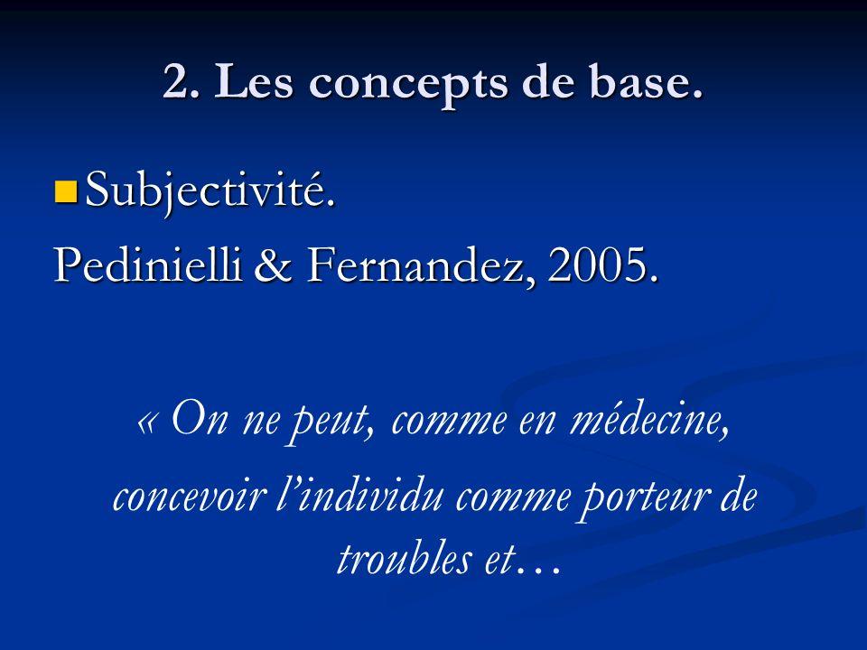 2. Les concepts de base. Subjectivité. Subjectivité. Pedinielli & Fernandez, 2005. « On ne peut, comme en médecine, concevoir lindividu comme porteur