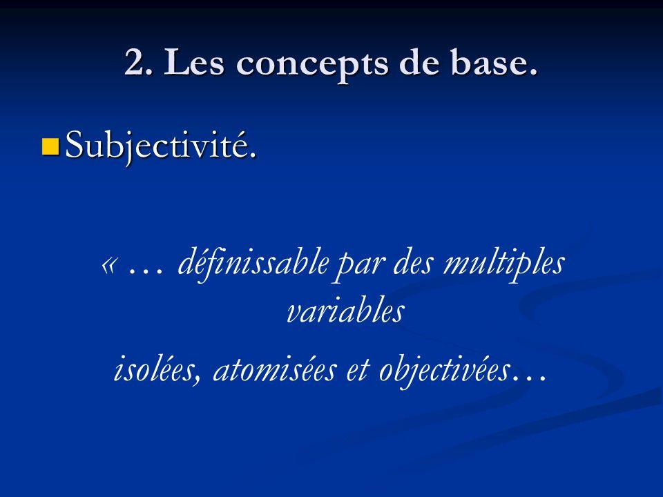 2. Les concepts de base. Subjectivité. Subjectivité. « … définissable par des multiples variables isolées, atomisées et objectivées…