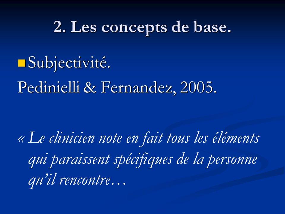 2. Les concepts de base. Subjectivité. Subjectivité. Pedinielli & Fernandez, 2005. « Le clinicien note en fait tous les éléments qui paraissent spécif
