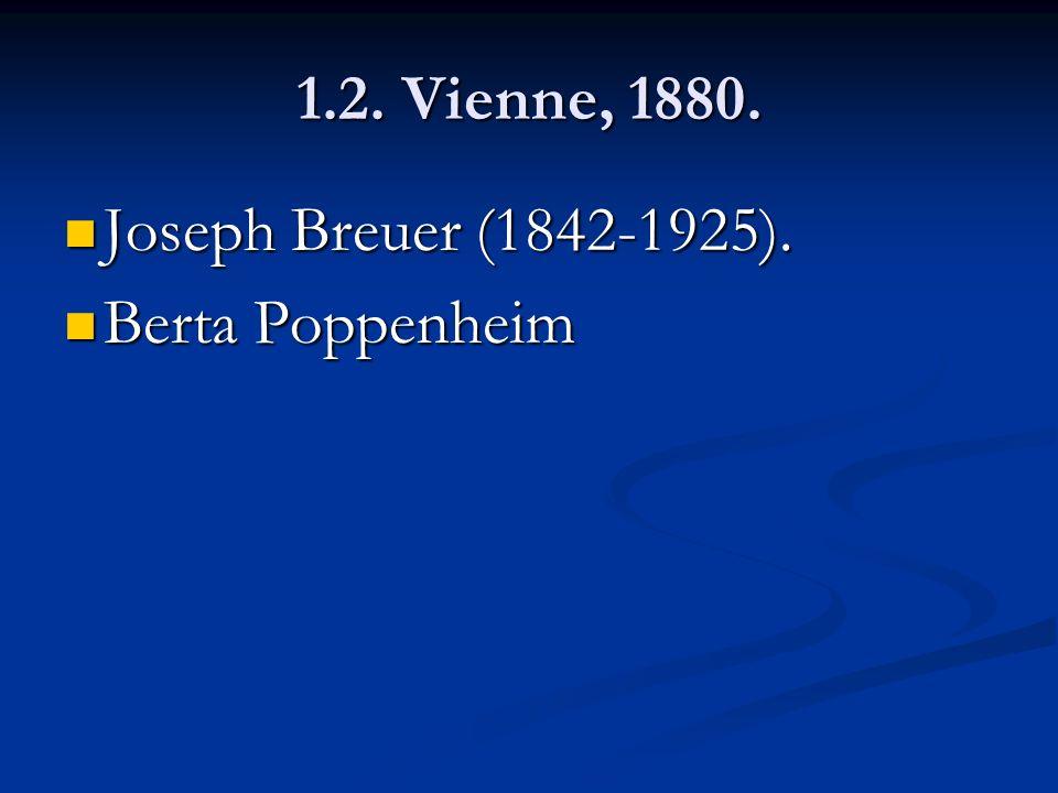 1.2. Vienne, 1880. Joseph Breuer (1842-1925). Joseph Breuer (1842-1925). Berta Poppenheim Berta Poppenheim