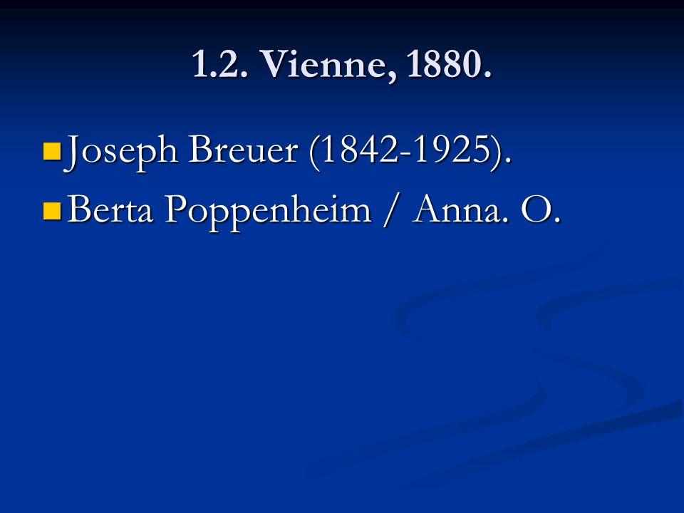 1.2. Vienne, 1880. Joseph Breuer (1842-1925). Joseph Breuer (1842-1925). Berta Poppenheim / Anna. O. Berta Poppenheim / Anna. O.