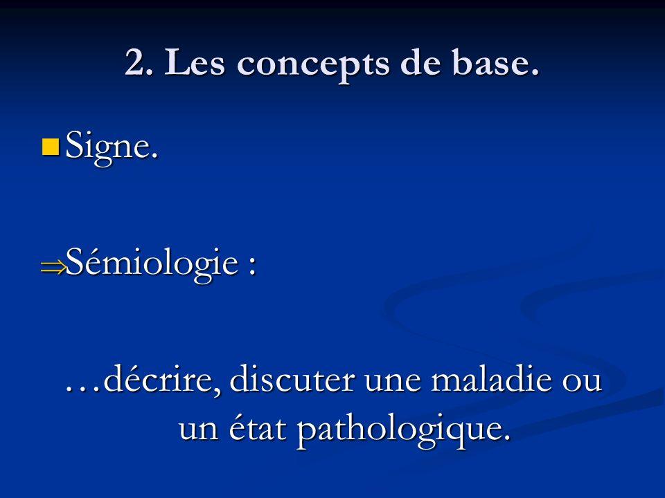 2. Les concepts de base. Signe. Signe. Sémiologie : Sémiologie : …décrire, discuter une maladie ou un état pathologique.