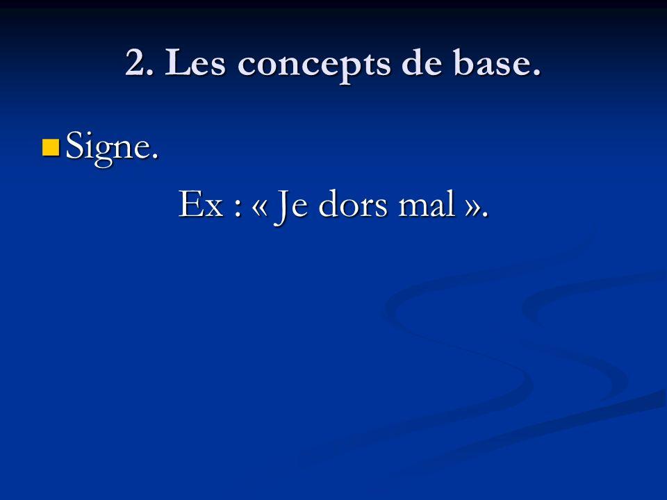 2. Les concepts de base. Signe. Signe. Ex : « Je dors mal ».