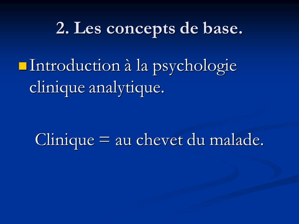 2. Les concepts de base. Introduction à la psychologie clinique analytique. Introduction à la psychologie clinique analytique. Clinique = au chevet du