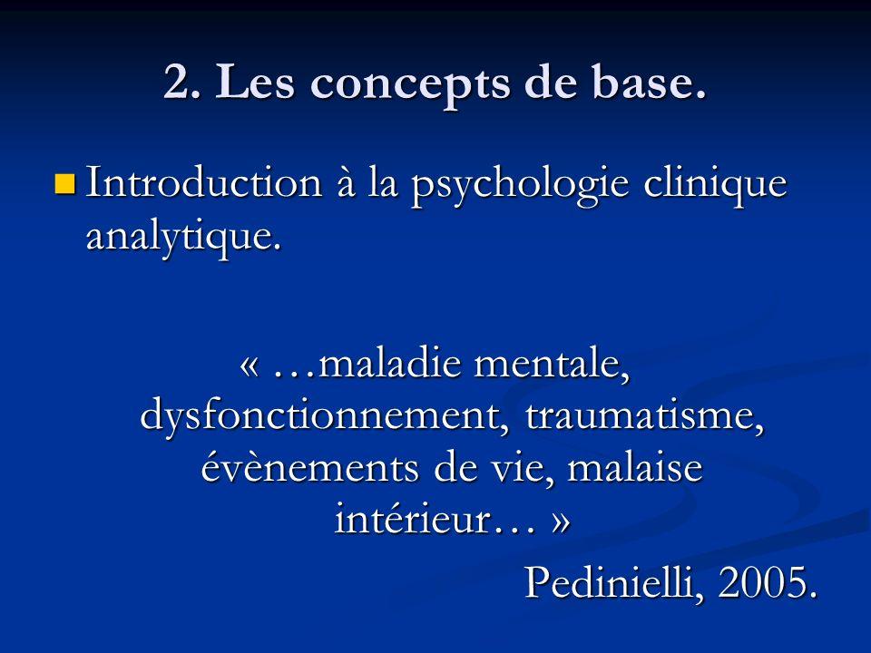 2. Les concepts de base. Introduction à la psychologie clinique analytique. Introduction à la psychologie clinique analytique. « …maladie mentale, dys