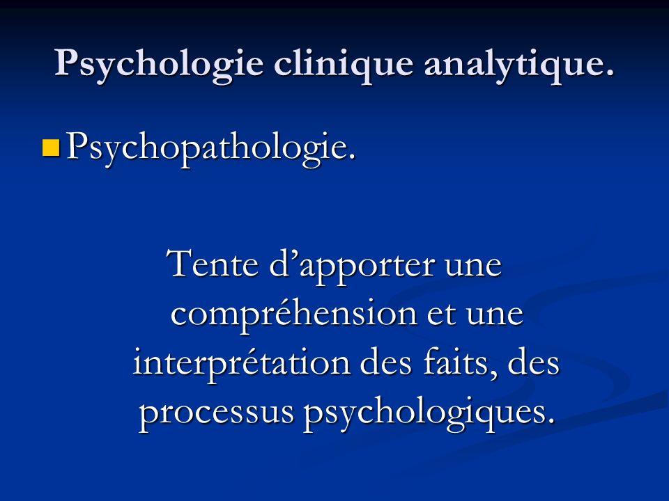 Psychologie clinique analytique. Psychopathologie. Psychopathologie. Tente dapporter une compréhension et une interprétation des faits, des processus