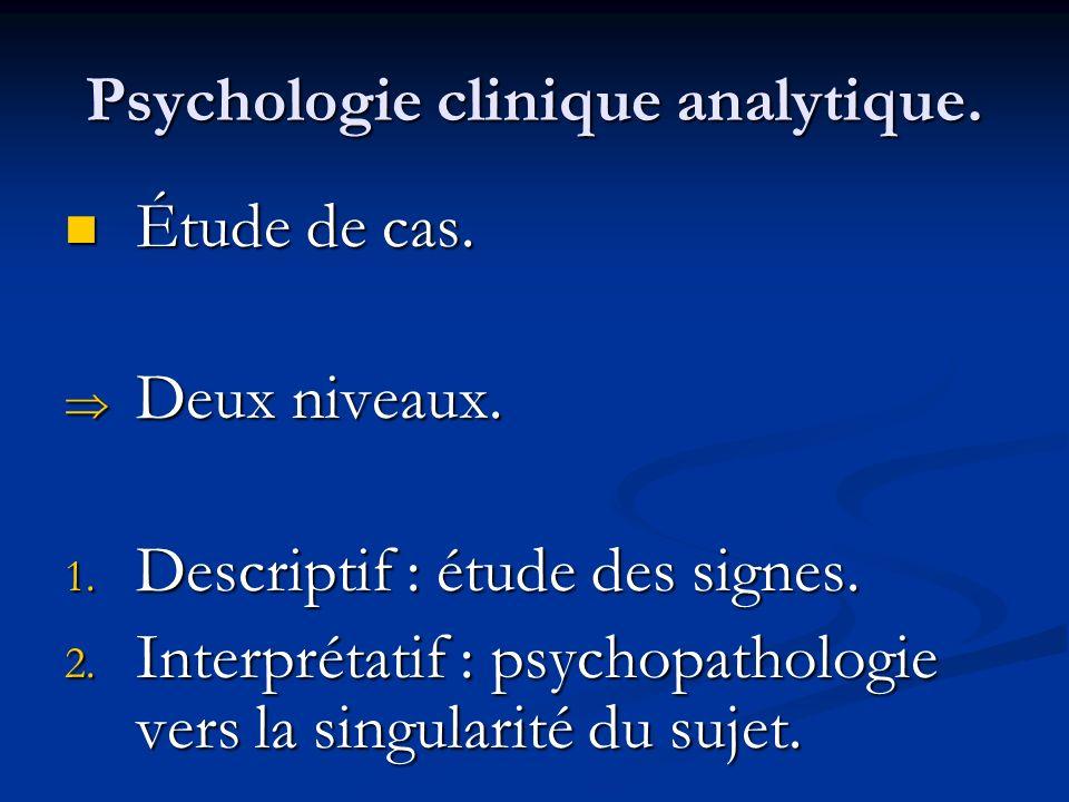 Psychologie clinique analytique. Étude de cas. Étude de cas. Deux niveaux. Deux niveaux. 1. Descriptif : étude des signes. 2. Interprétatif : psychopa