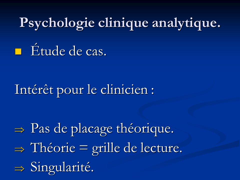 Psychologie clinique analytique. Étude de cas. Étude de cas. Intérêt pour le clinicien : Pas de placage théorique. Pas de placage théorique. Théorie =