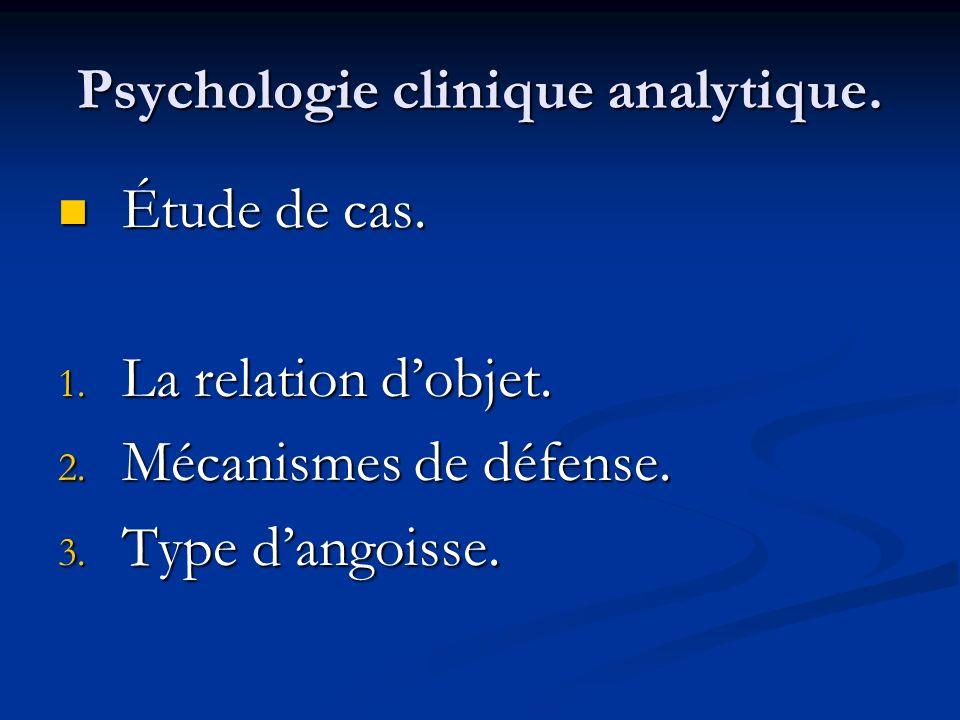 Psychologie clinique analytique. Étude de cas. Étude de cas. 1. La relation dobjet. 2. Mécanismes de défense. 3. Type dangoisse.