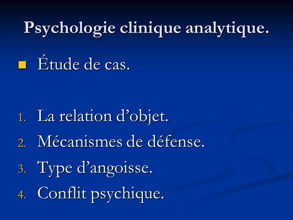 Psychologie clinique analytique. Étude de cas. Étude de cas. 1. La relation dobjet. 2. Mécanismes de défense. 3. Type dangoisse. 4. Conflit psychique.