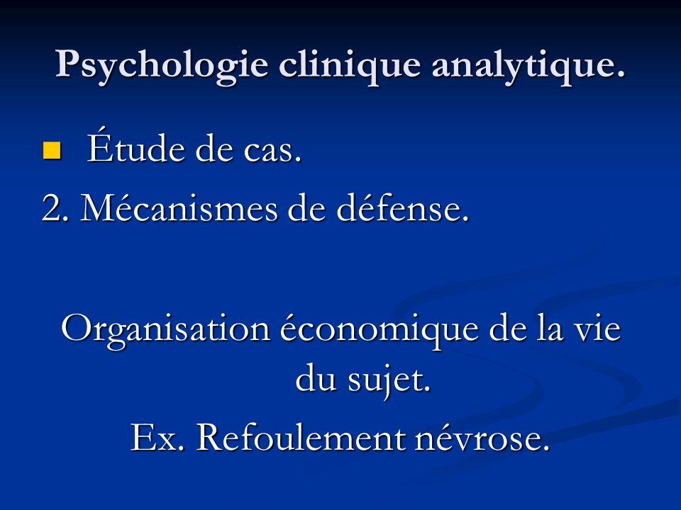 Psychologie clinique analytique. Étude de cas. Étude de cas. 2. Mécanismes de défense. Organisation économique de la vie du sujet. Ex. Refoulement név