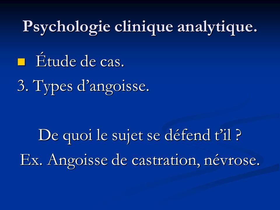 Psychologie clinique analytique. Étude de cas. Étude de cas. 3. Types dangoisse. De quoi le sujet se défend til ? Ex. Angoisse de castration, névrose.