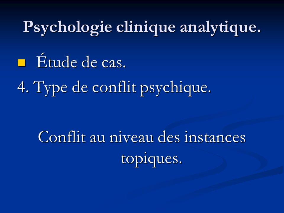 Psychologie clinique analytique. Étude de cas. Étude de cas. 4. Type de conflit psychique. Conflit au niveau des instances topiques.