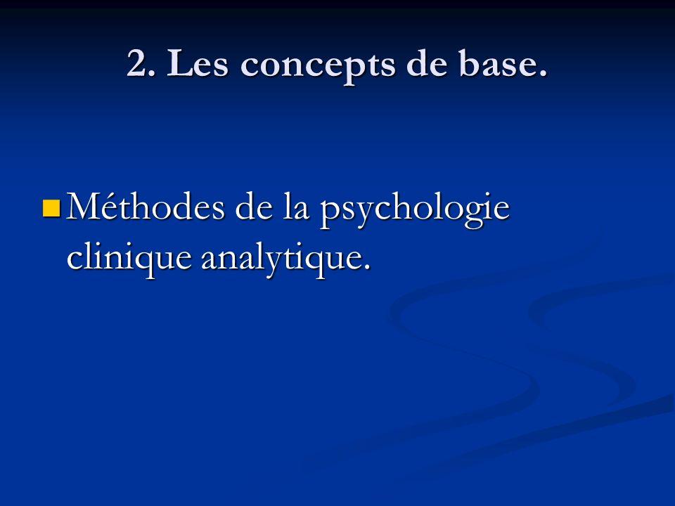 2. Les concepts de base. Méthodes de la psychologie clinique analytique. Méthodes de la psychologie clinique analytique.