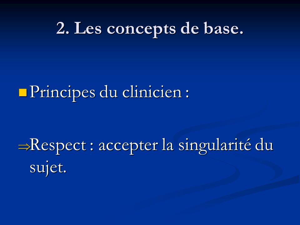 2. Les concepts de base. Principes du clinicien : Principes du clinicien : Respect : accepter la singularité du sujet. Respect : accepter la singulari