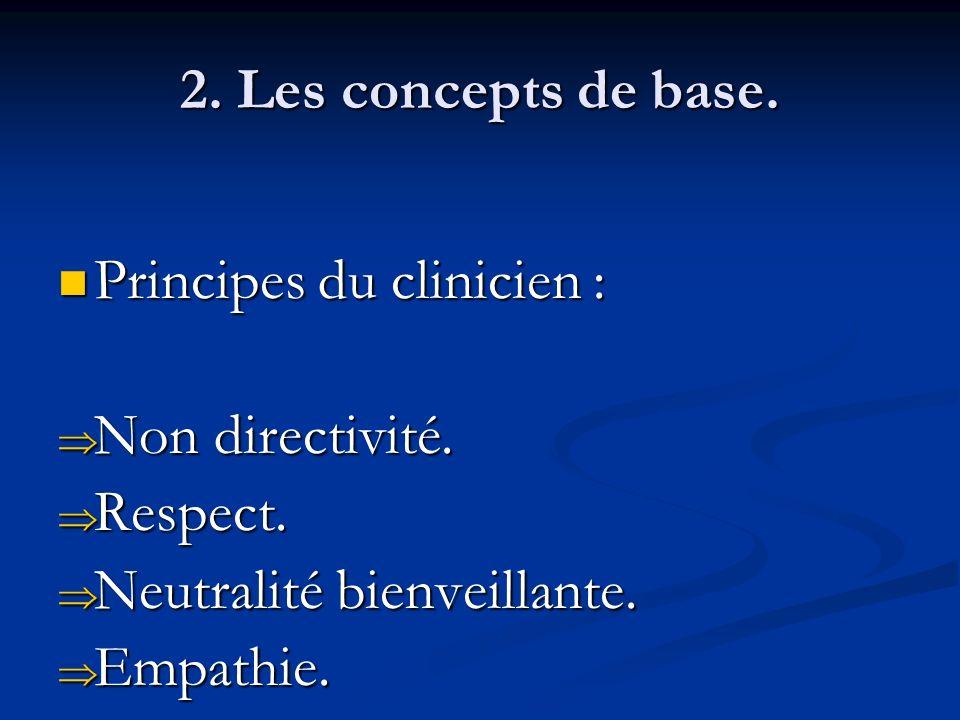 2. Les concepts de base. Principes du clinicien : Principes du clinicien : Non directivité. Non directivité. Respect. Respect. Neutralité bienveillant