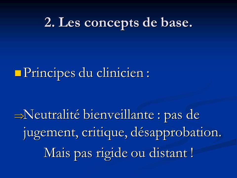 2. Les concepts de base. Principes du clinicien : Principes du clinicien : Neutralité bienveillante : pas de jugement, critique, désapprobation. Neutr