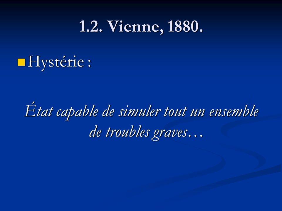 1.2. Vienne, 1880. Hystérie : Hystérie : État capable de simuler tout un ensemble de troubles graves…