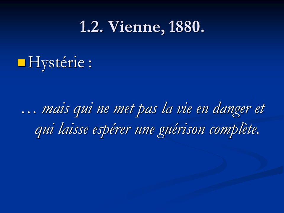 1.2. Vienne, 1880. Hystérie : Hystérie : … mais qui ne met pas la vie en danger et qui laisse espérer une guérison complète.