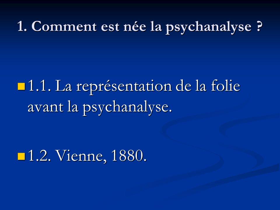 1. Comment est née la psychanalyse ? 1.1. La représentation de la folie avant la psychanalyse. 1.1. La représentation de la folie avant la psychanalys