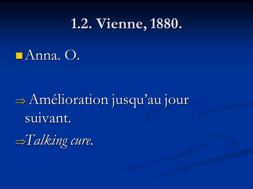 1.2. Vienne, 1880. Anna. O. Anna. O. Amélioration jusquau jour suivant. Amélioration jusquau jour suivant. Talking cure. Talking cure.