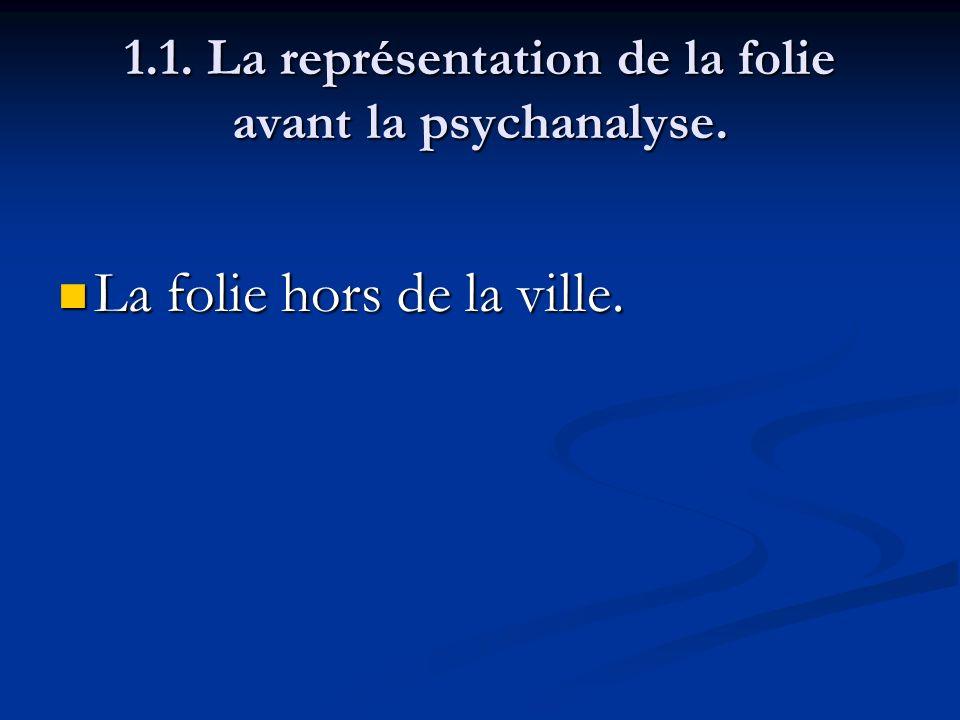 1.1. La représentation de la folie avant la psychanalyse. La folie hors de la ville. La folie hors de la ville.