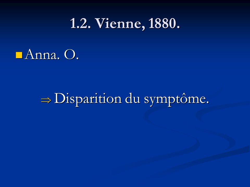 1.2. Vienne, 1880. Anna. O. Anna. O. Disparition du symptôme. Disparition du symptôme.