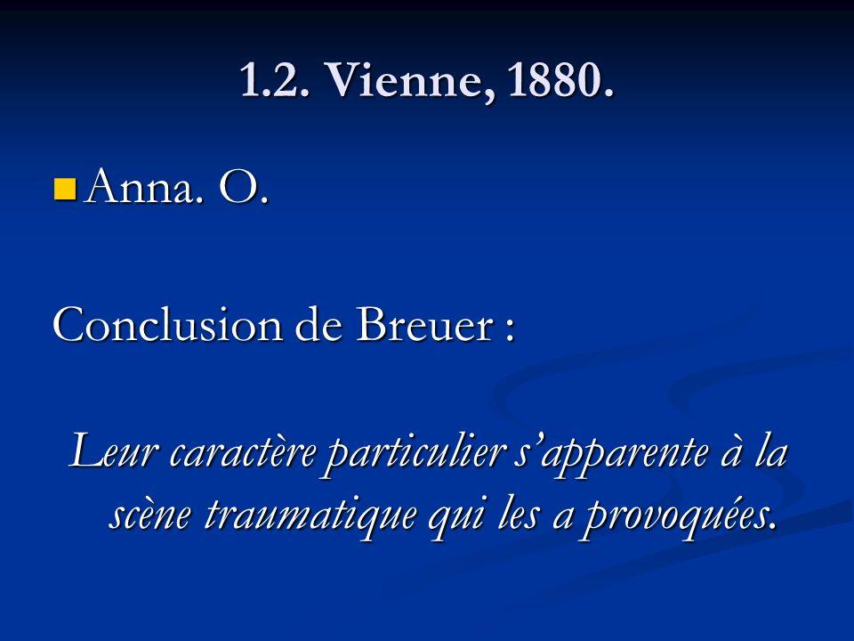 1.2. Vienne, 1880. Anna. O. Anna. O. Conclusion de Breuer : Leur caractère particulier sapparente à la scène traumatique qui les a provoquées.