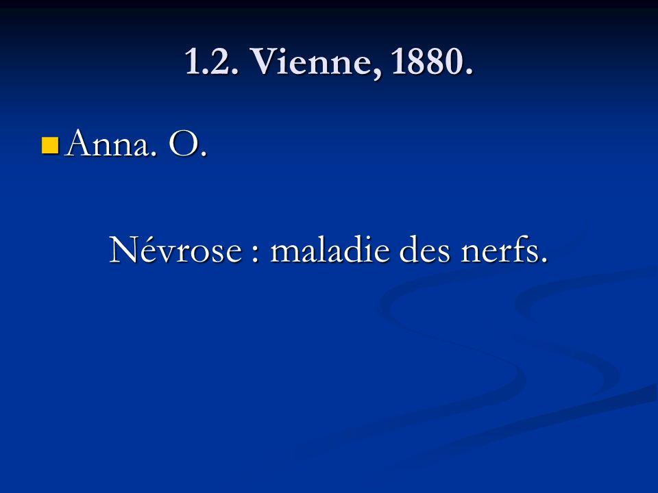 1.2. Vienne, 1880. Anna. O. Anna. O. Névrose : maladie des nerfs.
