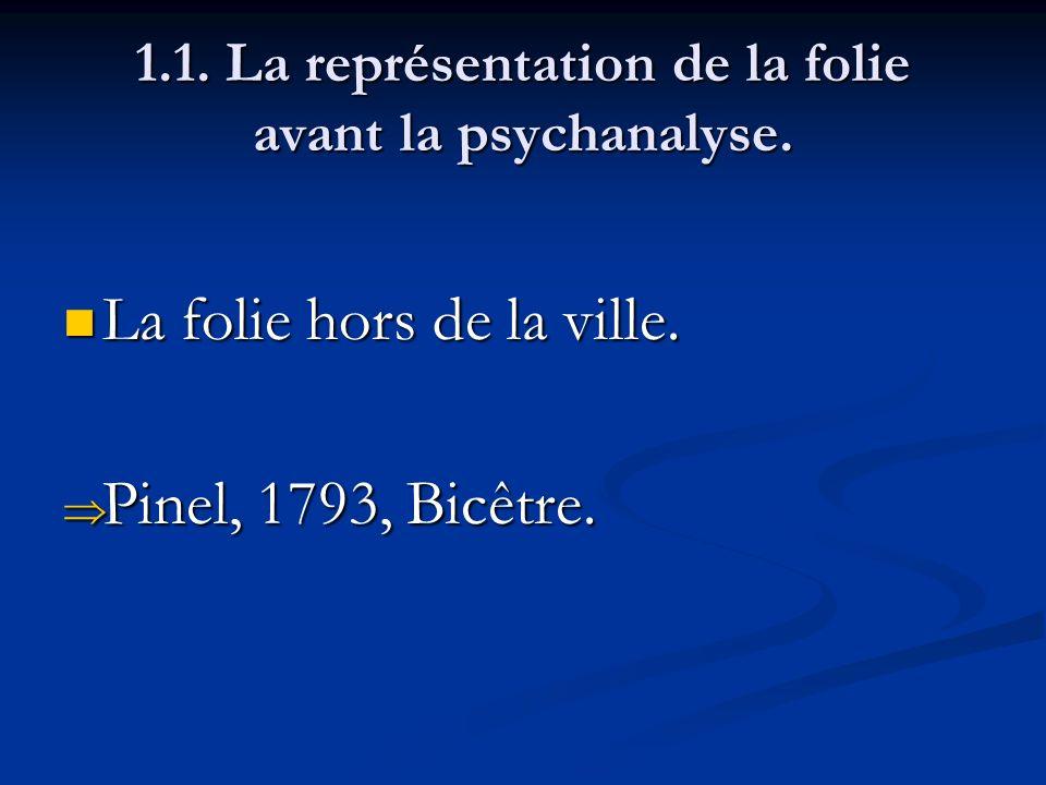 1.1. La représentation de la folie avant la psychanalyse. La folie hors de la ville. La folie hors de la ville. Pinel, 1793, Bicêtre. Pinel, 1793, Bic