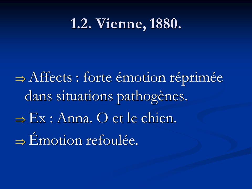 1.2. Vienne, 1880. Affects : forte émotion réprimée dans situations pathogènes. Affects : forte émotion réprimée dans situations pathogènes. Ex : Anna