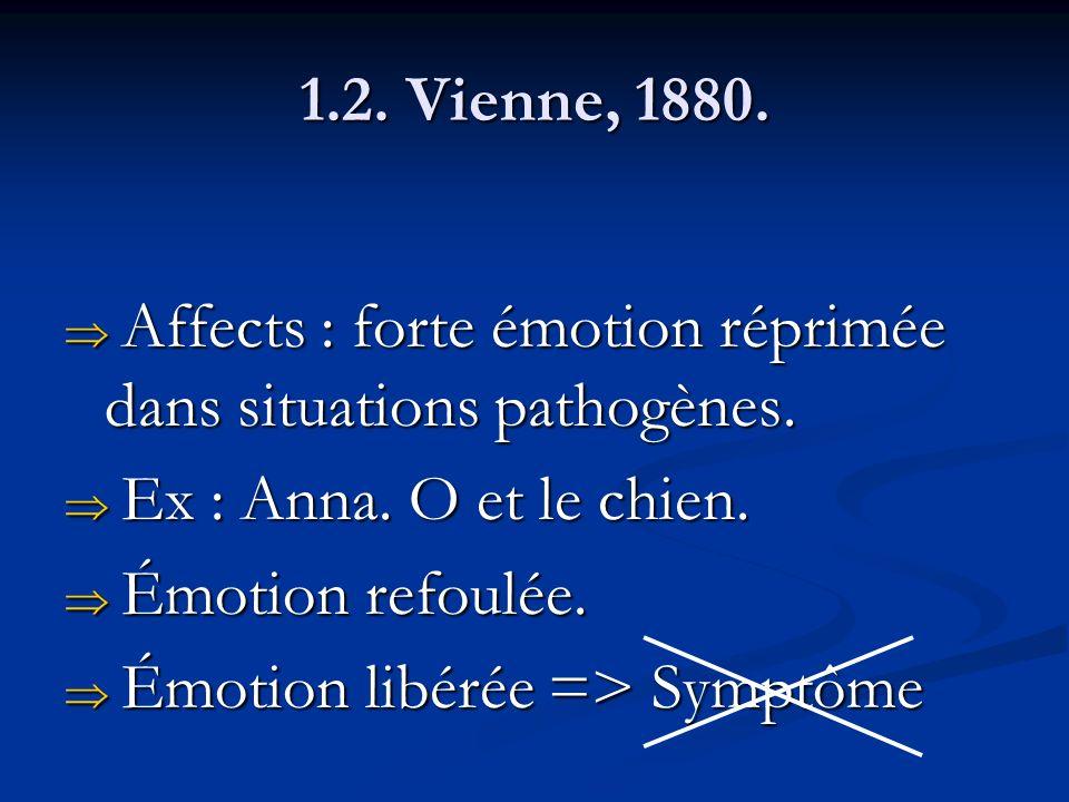 1.2.Vienne, 1880. Affects : forte émotion réprimée dans situations pathogènes.