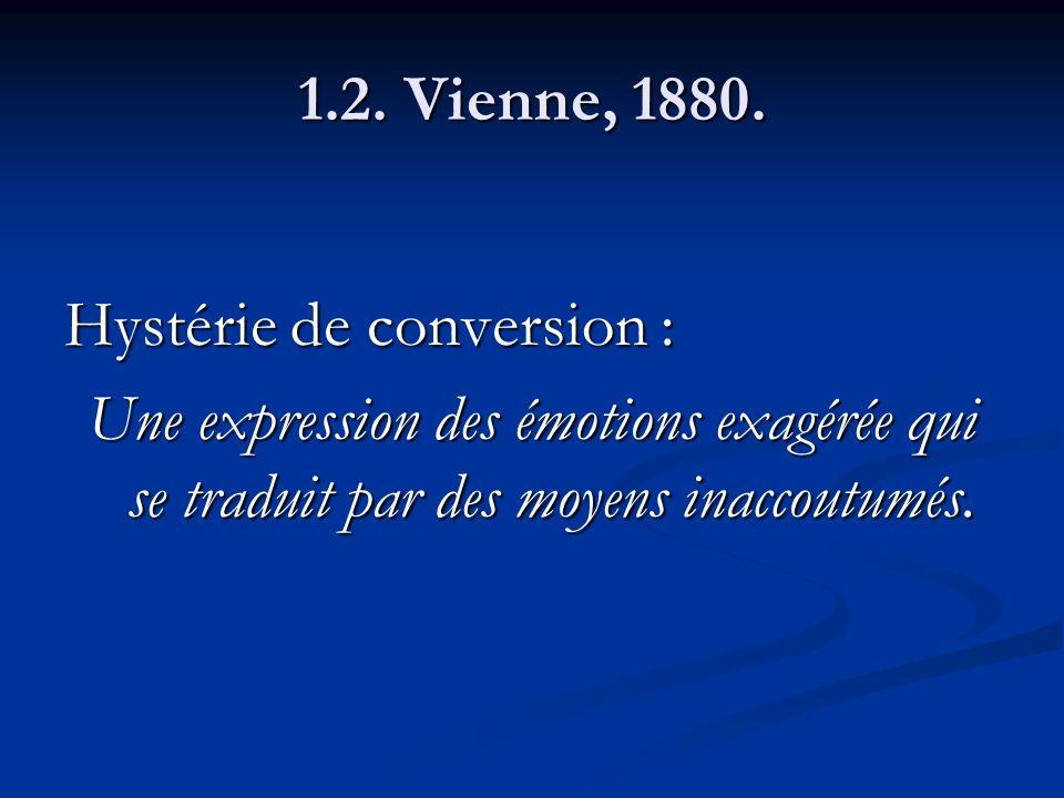 1.2. Vienne, 1880. Hystérie de conversion : Une expression des émotions exagérée qui se traduit par des moyens inaccoutumés.