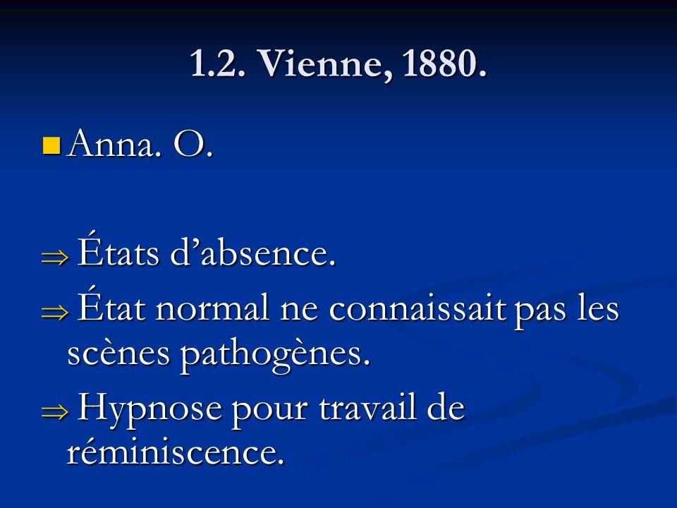 1.2. Vienne, 1880. Anna. O. Anna. O. États dabsence. États dabsence. État normal ne connaissait pas les scènes pathogènes. État normal ne connaissait