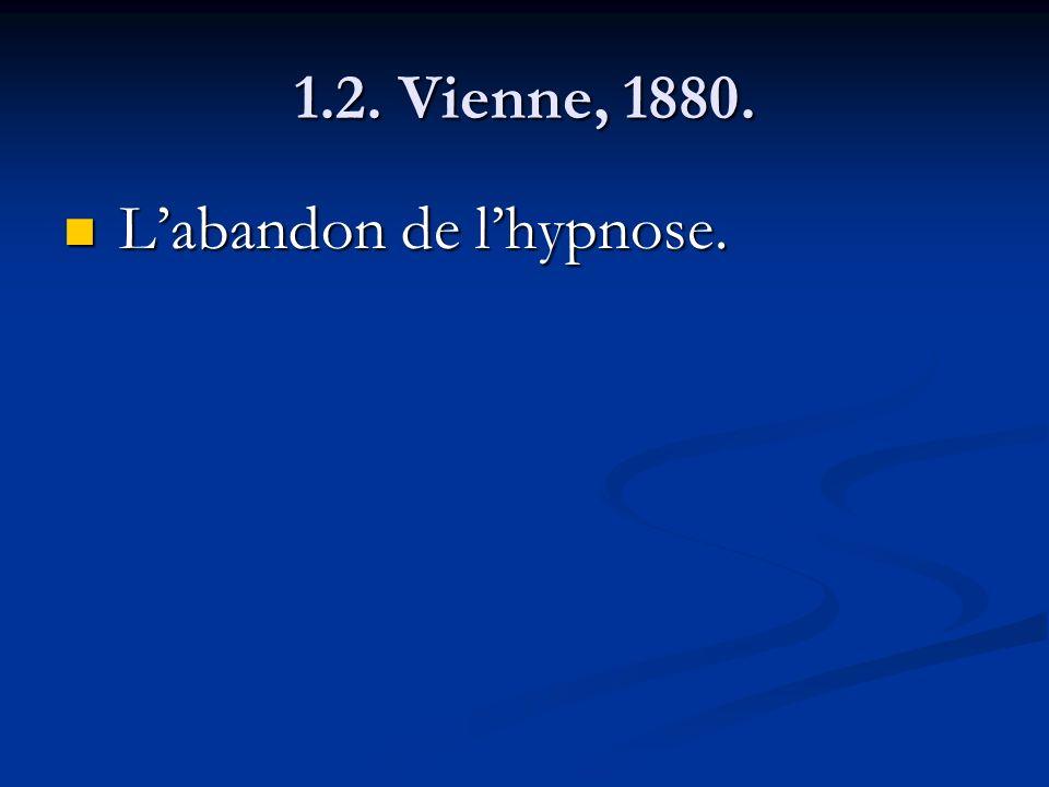 1.2. Vienne, 1880. Labandon de lhypnose. Labandon de lhypnose.