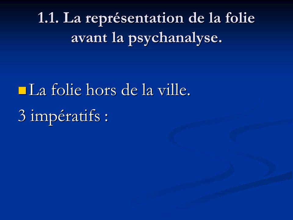 1.1. La représentation de la folie avant la psychanalyse. La folie hors de la ville. La folie hors de la ville. 3 impératifs :