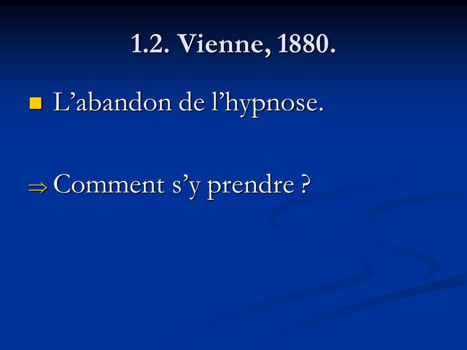 1.2. Vienne, 1880. Labandon de lhypnose. Labandon de lhypnose. Comment sy prendre ? Comment sy prendre ?