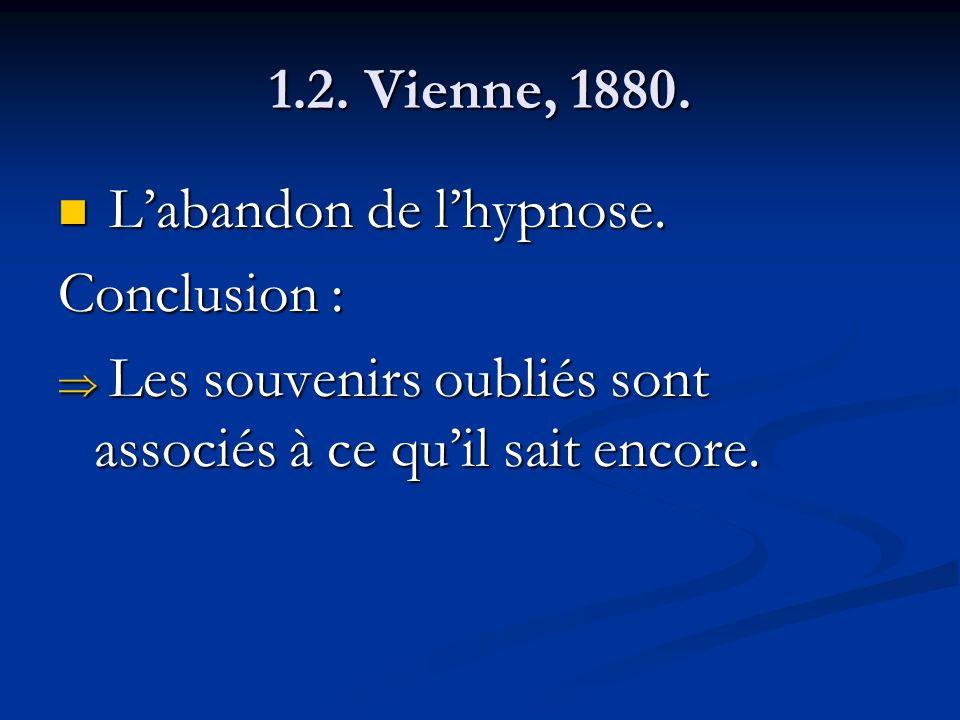 1.2. Vienne, 1880. Labandon de lhypnose. Labandon de lhypnose. Conclusion : Les souvenirs oubliés sont associés à ce quil sait encore. Les souvenirs o