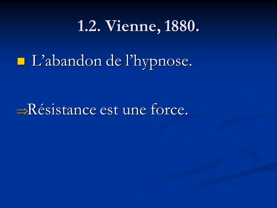 1.2. Vienne, 1880. Labandon de lhypnose. Labandon de lhypnose. Résistance est une force. Résistance est une force.