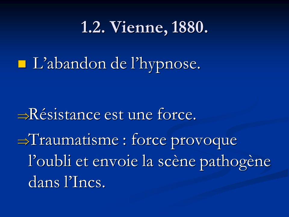 1.2. Vienne, 1880. Labandon de lhypnose. Labandon de lhypnose. Résistance est une force. Résistance est une force. Traumatisme : force provoque loubli