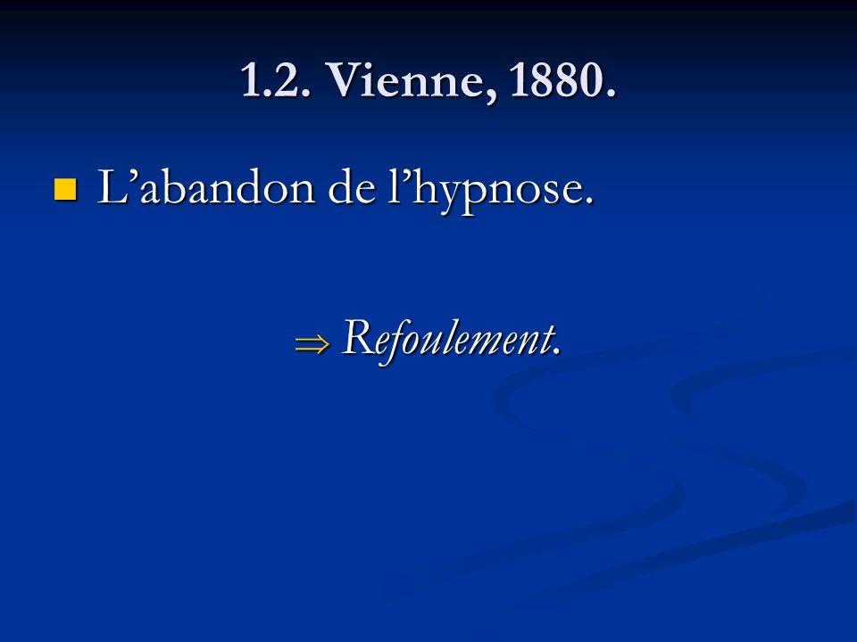 1.2. Vienne, 1880. Labandon de lhypnose. Labandon de lhypnose. Refoulement. Refoulement.