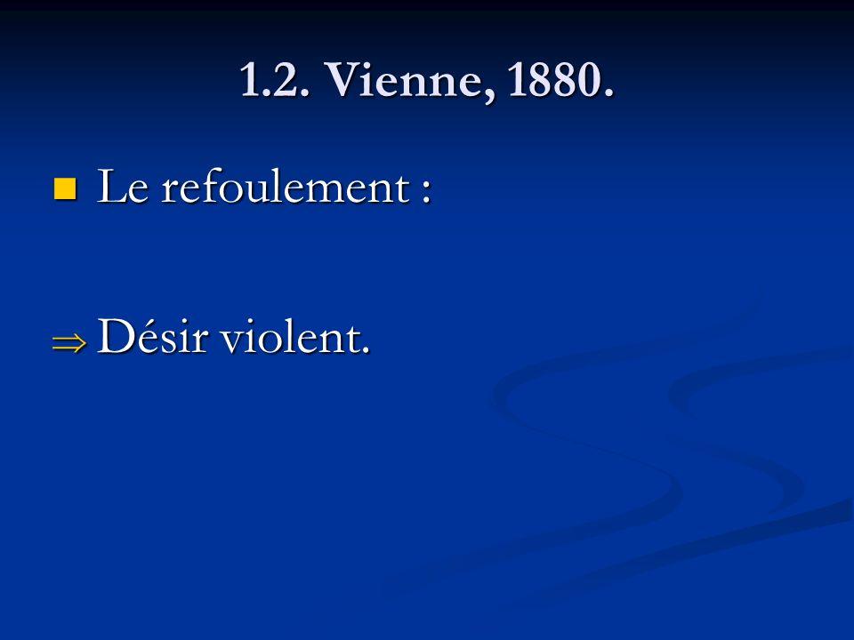 1.2. Vienne, 1880. Le refoulement : Le refoulement : Désir violent. Désir violent.