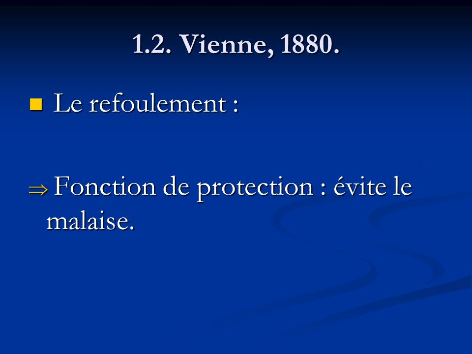 1.2. Vienne, 1880. Le refoulement : Le refoulement : Fonction de protection : évite le malaise. Fonction de protection : évite le malaise.