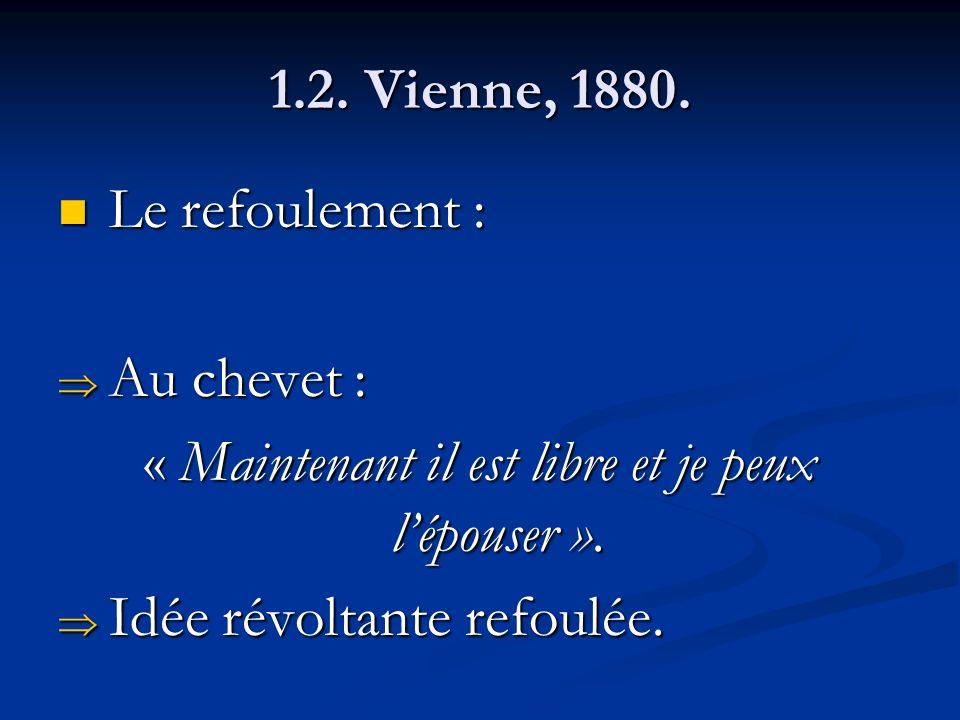 1.2. Vienne, 1880. Le refoulement : Le refoulement : Au chevet : Au chevet : « Maintenant il est libre et je peux lépouser ». Idée révoltante refoulée