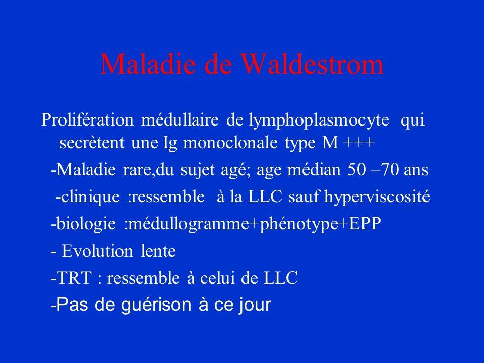Maladie de Waldestrom Prolifération médullaire de lymphoplasmocyte qui secrètent une Ig monoclonale type M +++ -Maladie rare,du sujet agé; age médian