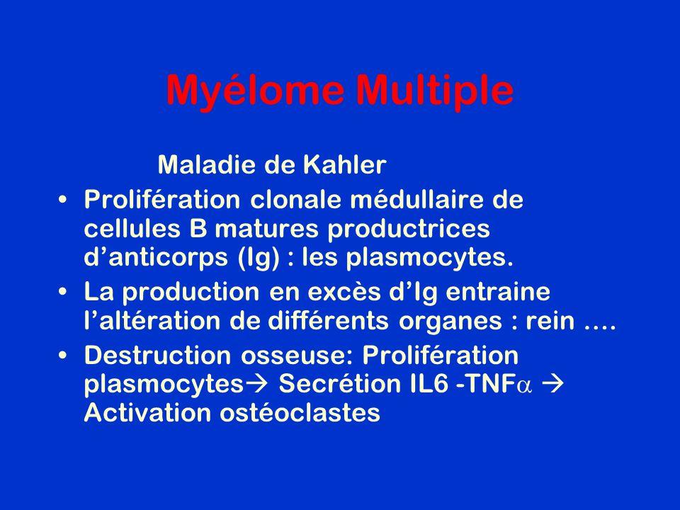 Myélome Multiple Maladie de Kahler Prolifération clonale médullaire de cellules B matures productrices danticorps (Ig) : les plasmocytes. La productio