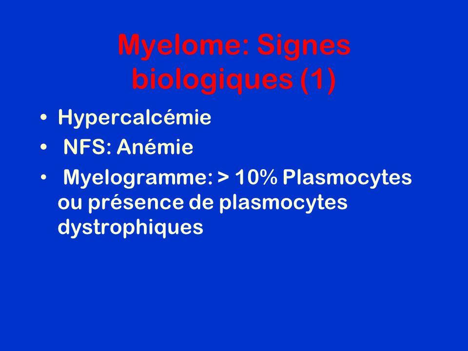 Myelome: Signes biologiques (1) Hypercalcémie NFS: Anémie Myelogramme: > 10% Plasmocytes ou présence de plasmocytes dystrophiques