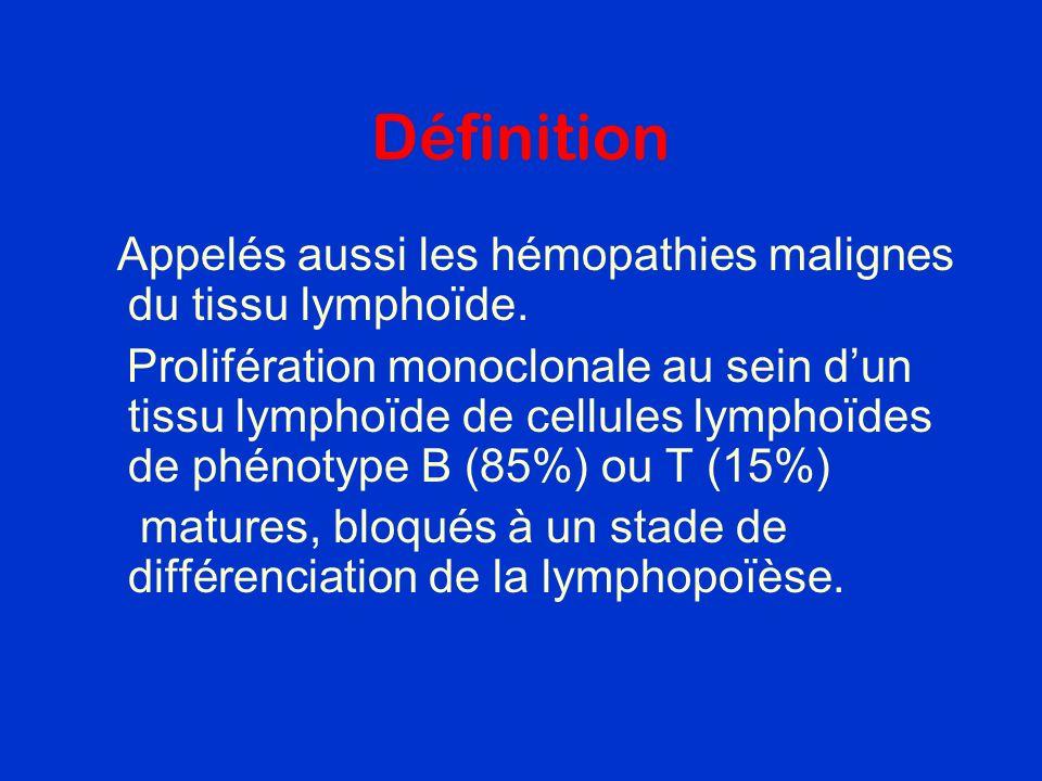 Définition Appelés aussi les hémopathies malignes du tissu lymphoïde. Prolifération monoclonale au sein dun tissu lymphoïde de cellules lymphoïdes de